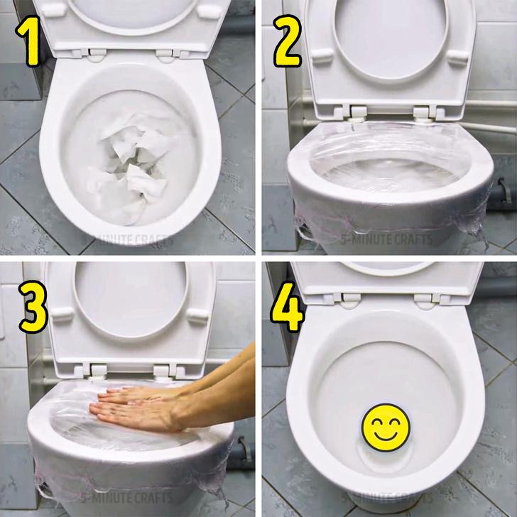 باز كردن گرفتگی توالت فرنگی با سلفون