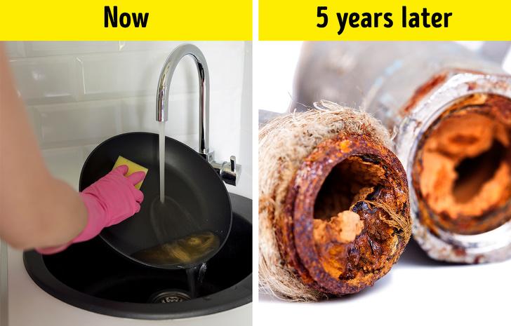 روغن و چربی را داخل سینک ظرفشویی نریزید